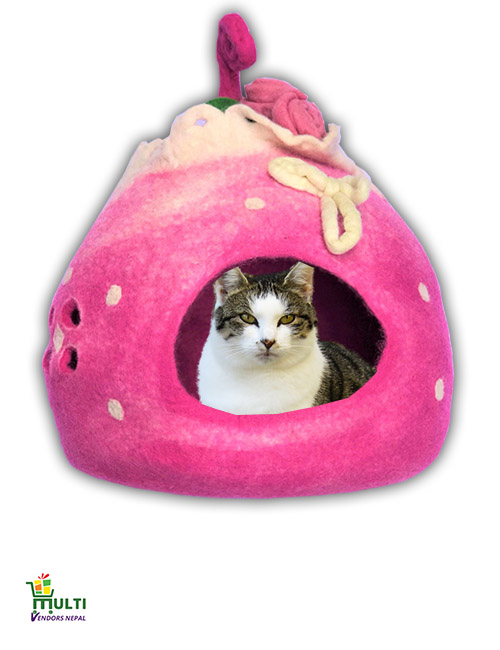 Pink Home Cat Cave Bed