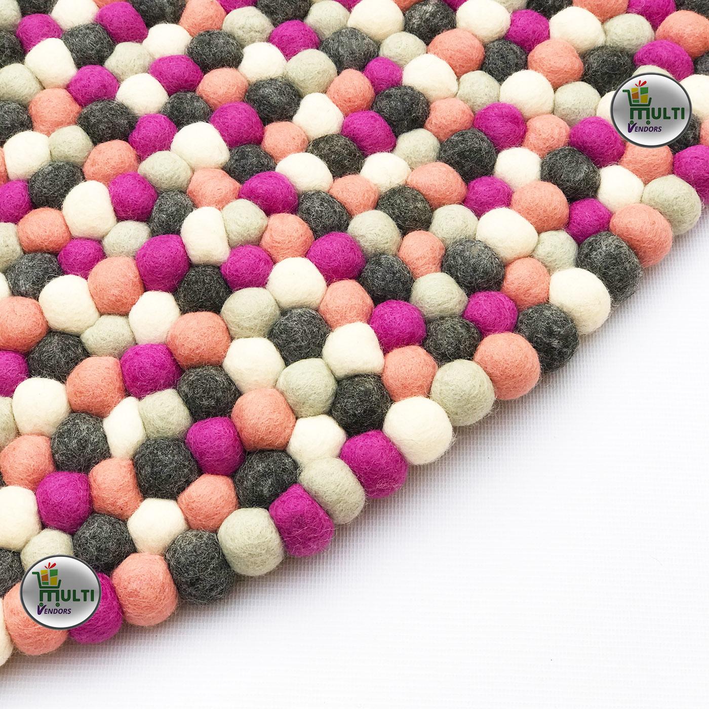 Round  Multi Color felt balls Rug -C 21514