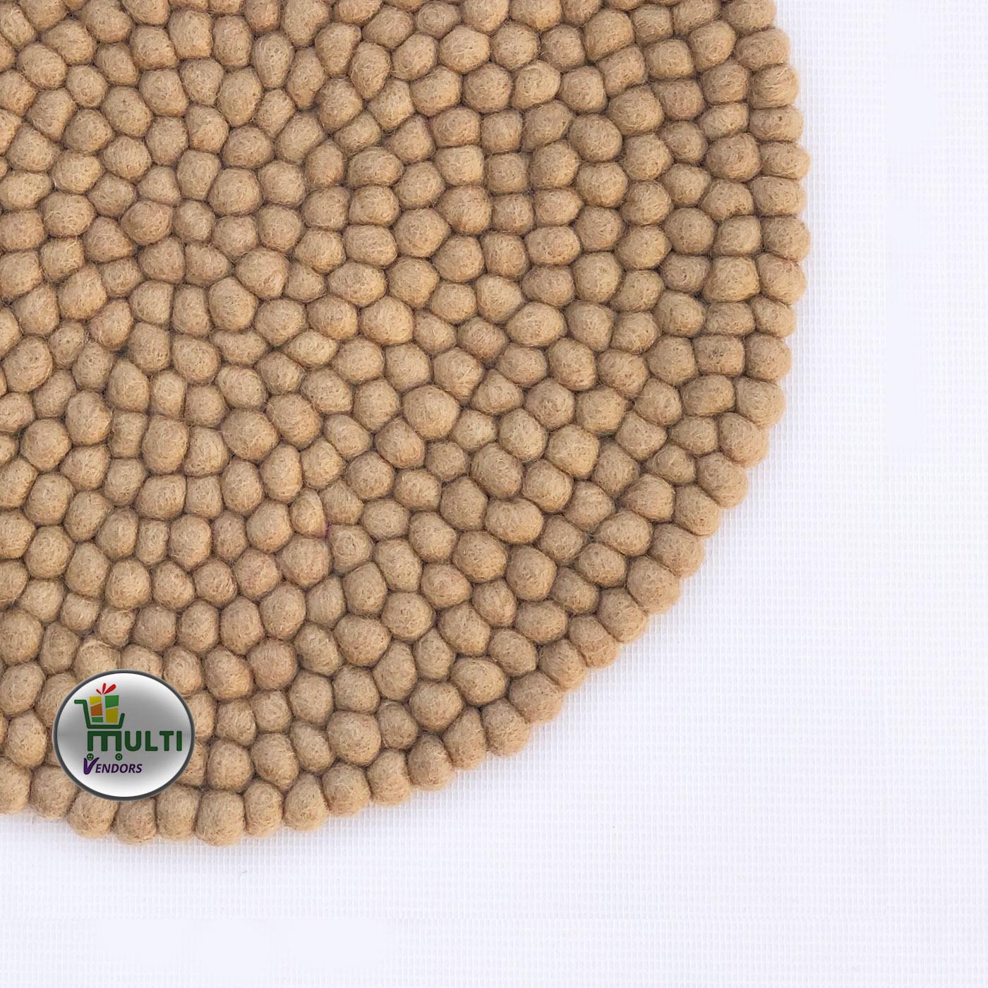 Round Beige Color Felt Ball Rug -MVSEB-PB- 21524