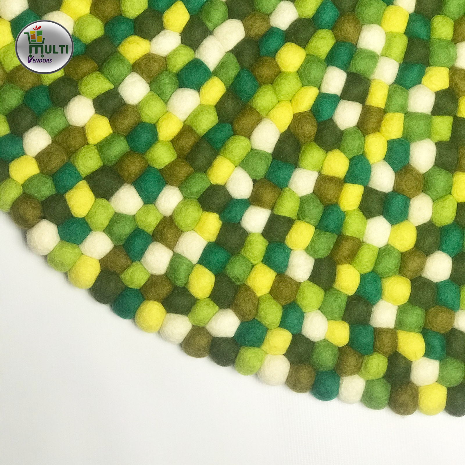 Round  Multi Color Felt Ball Rug -21502C