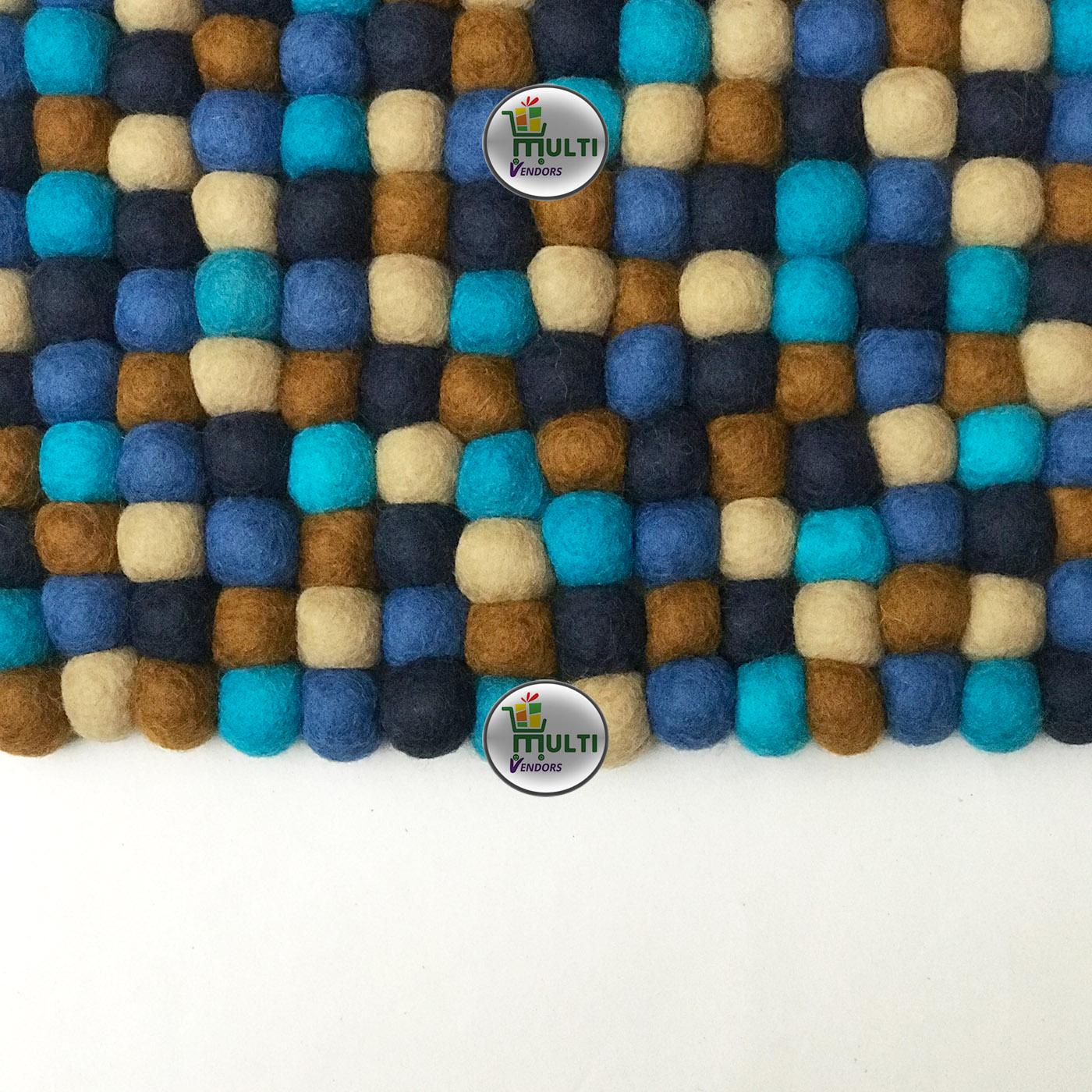 Rectangular  Multi Color Felt Ball Rug -MVSEB-C 21516