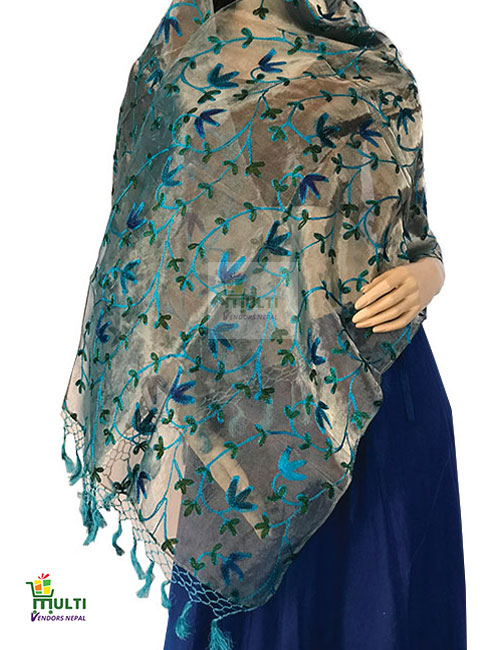 B 276-A Embroidered Silk Scarf