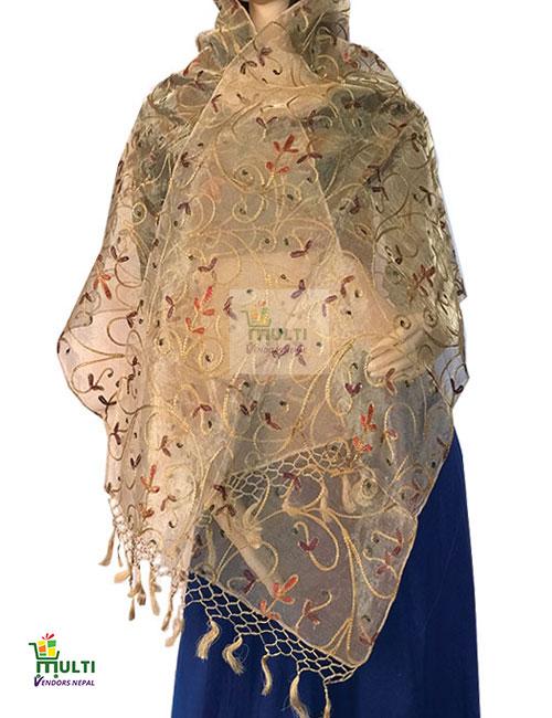 B 279-Embroidered Silk Scarf