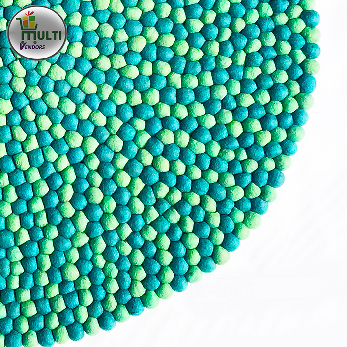 Round Mix Green Shades Felt Ball Rug -MVKS 101 A