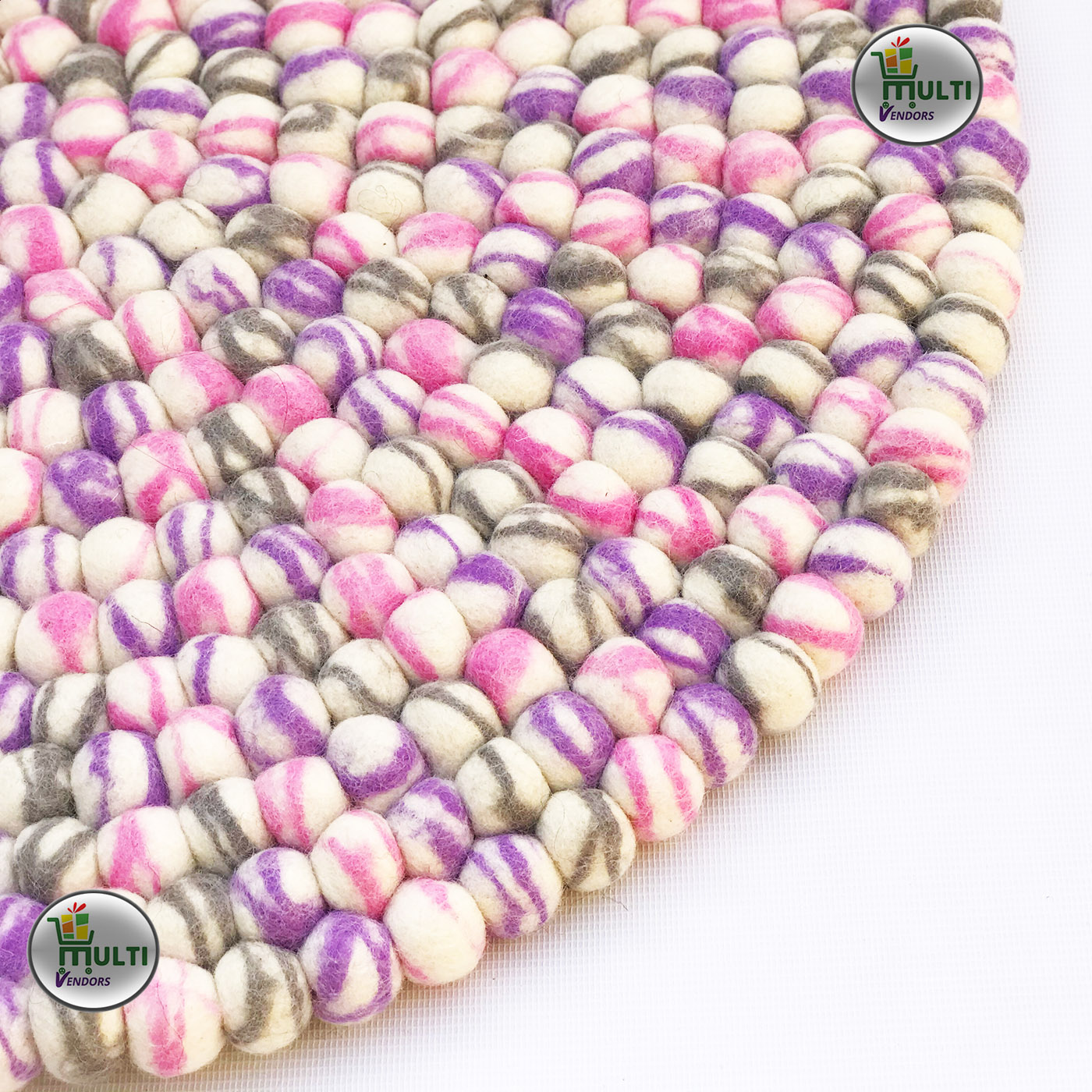 Round Marble Pebbles Design Felt Rug - MVSEB-WP- 21522