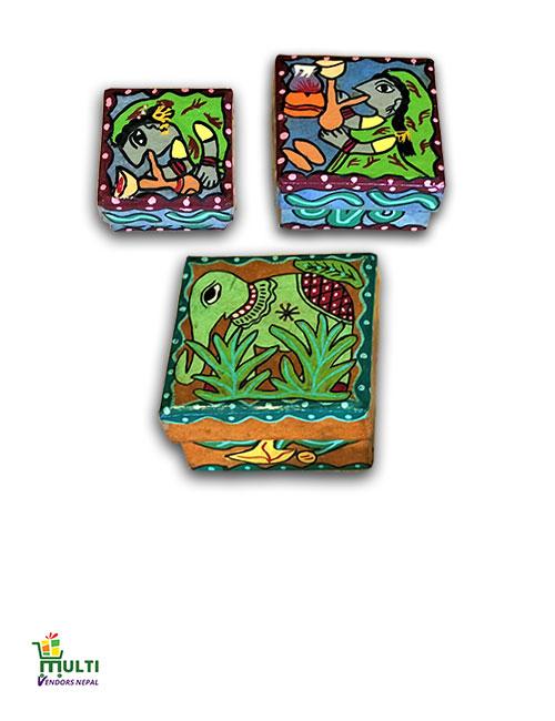 M.V.S-15-Mithila Art-Paper Gift Box Set of 3