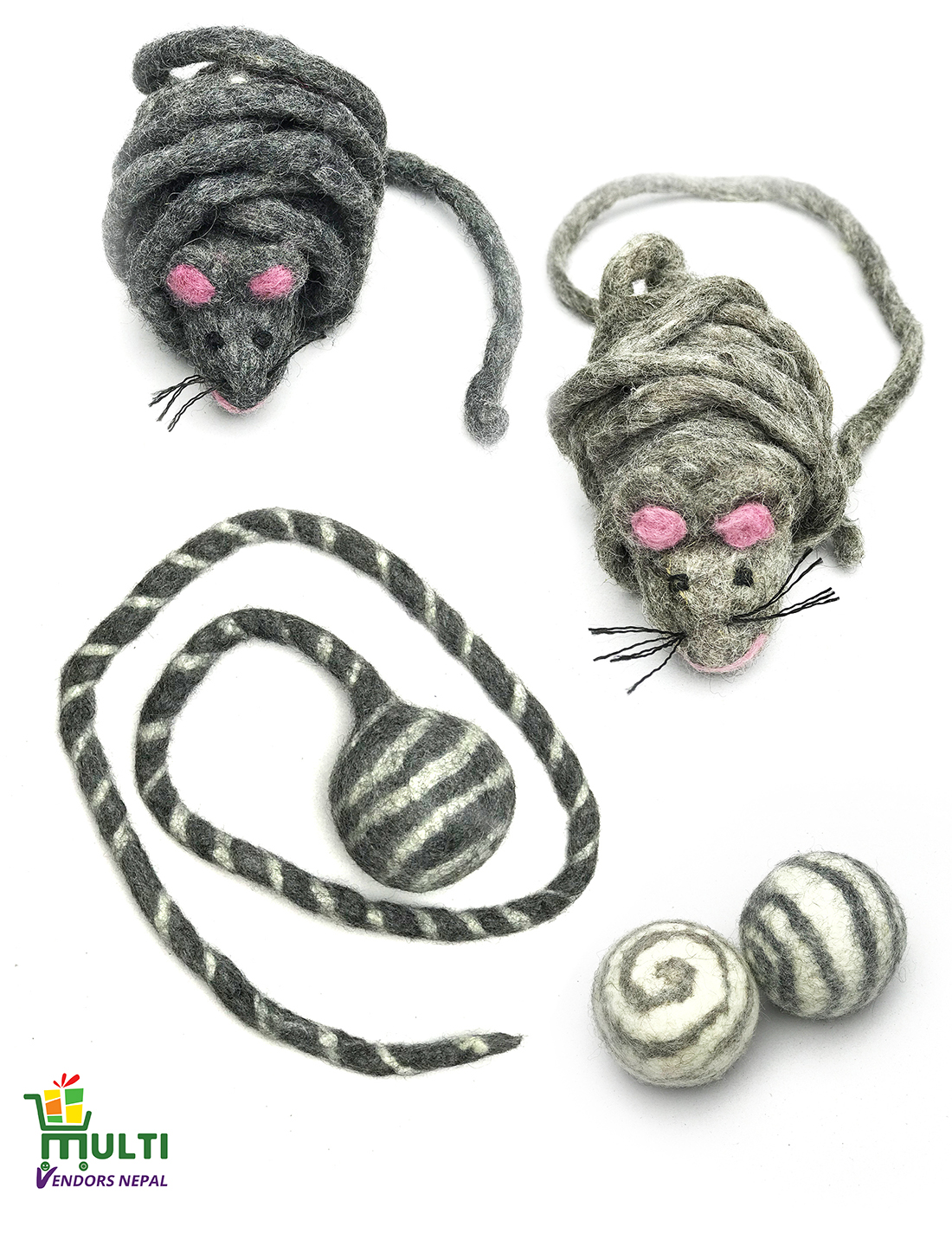 Mixed Set of 100 % Natural Cat Toys -MVSEB-802