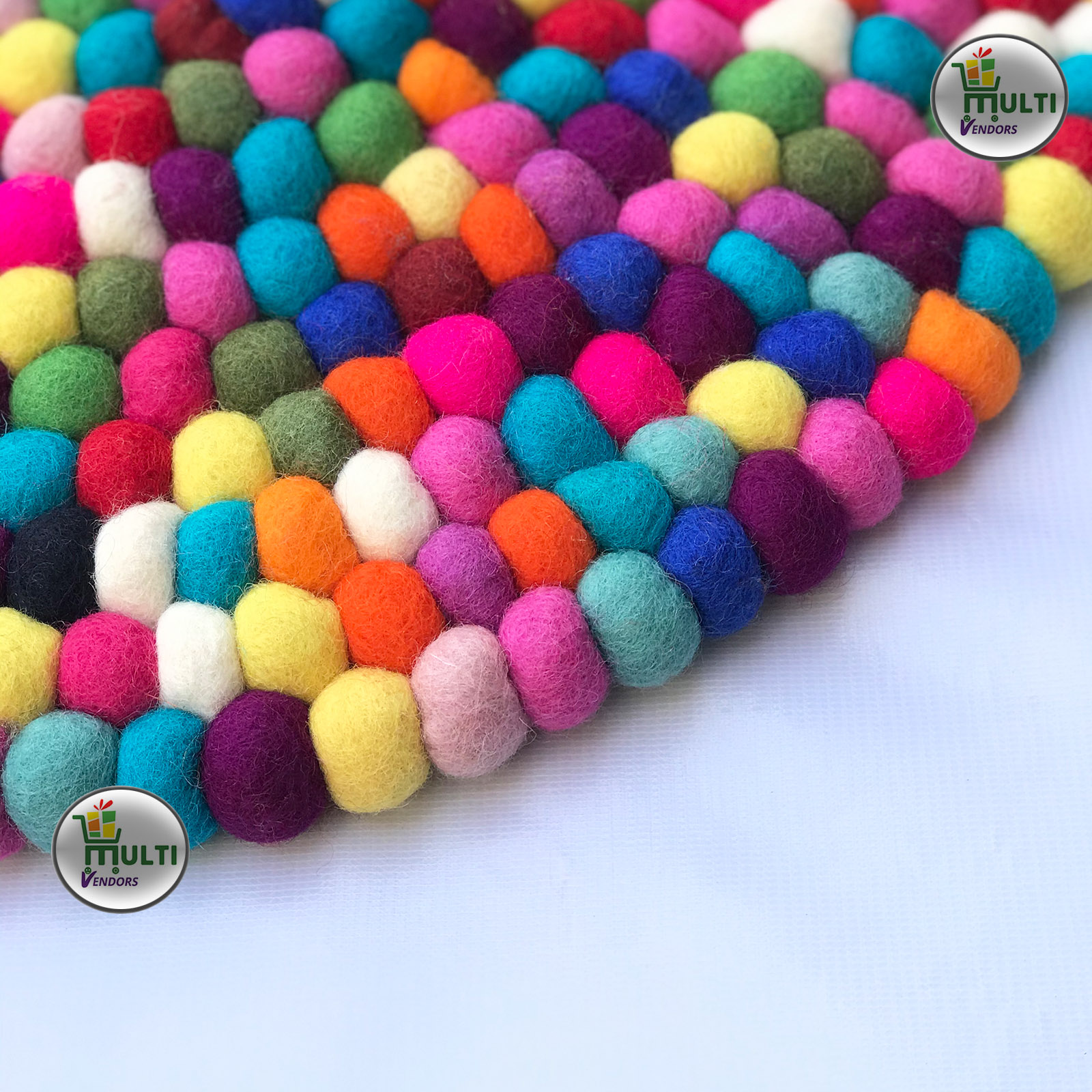 Round Multi Color Felt Ball Rug -21503A
