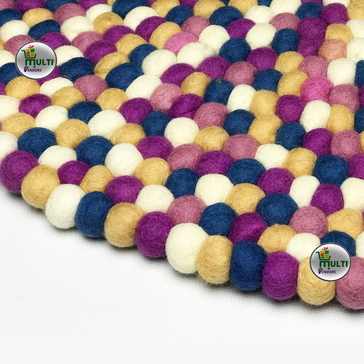 Round  Multi Color Felt Ball Rug -21509A