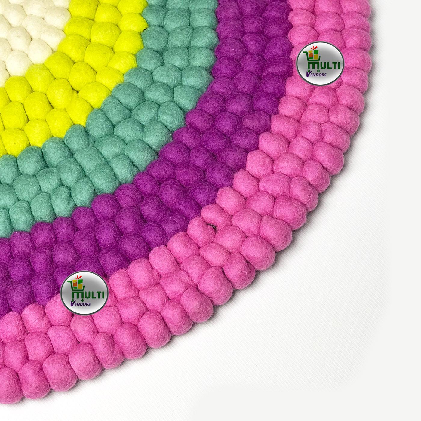 Round  Multi Color Felt Ball Rug -21506A
