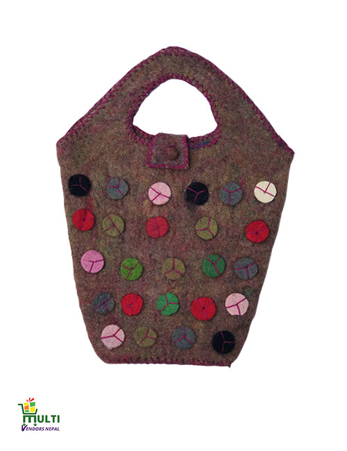 Brown Base with Colorful Buttons-M.V.K.S-185