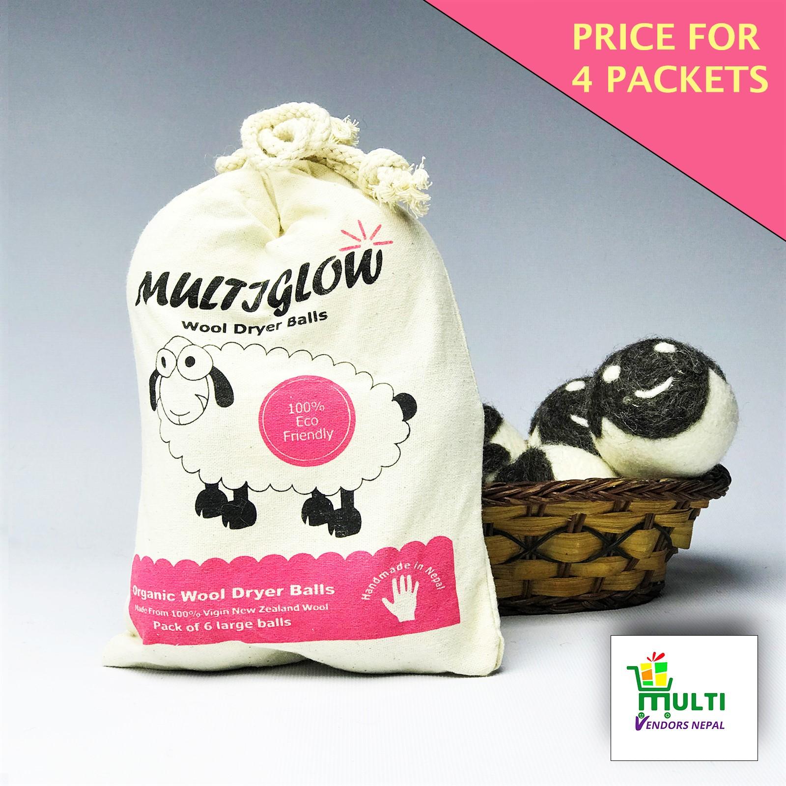 Multiglow Wool Dryer Balls- 4 Pack