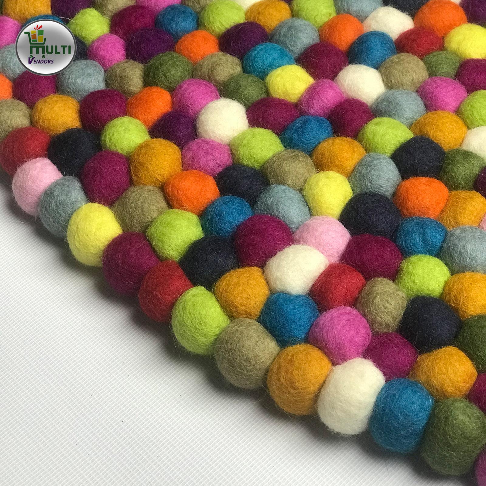 Round  Multi Color Felt Ball Rug -21501A