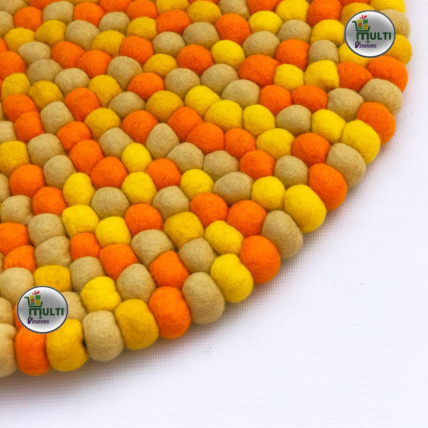 Round Orange-Yellow Multicolor Felt Ball Rug -MVSEB-OY- 21521 A