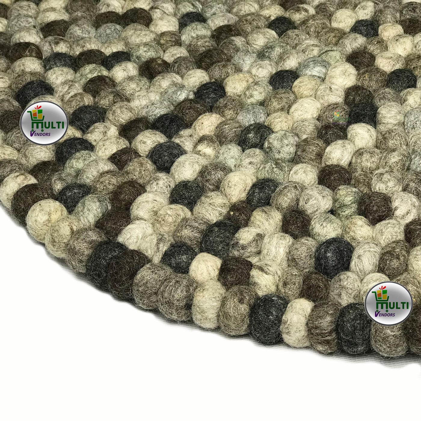 Round 100% Natural Felt Ball Rug -21510A