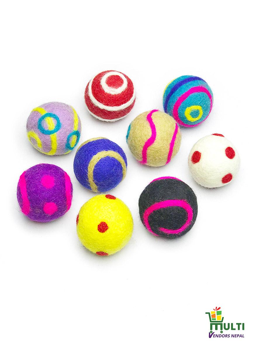 Set of Assorted Nine Felt Ball Toy Set- MVN-1091